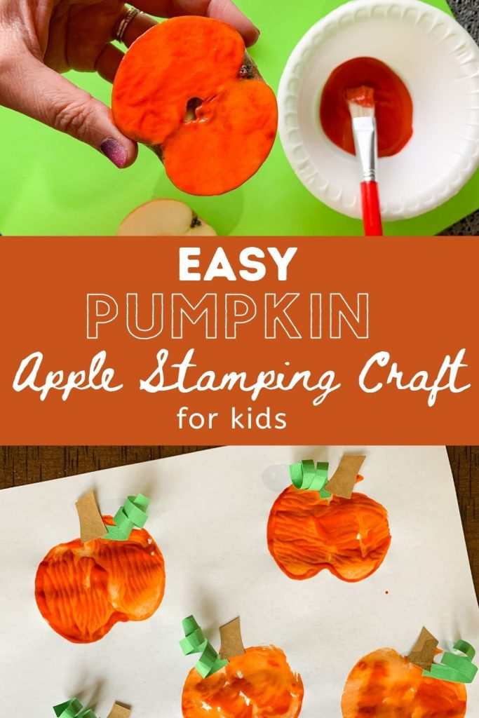 Easy Pumpkin Apple Stamping Craft for kids